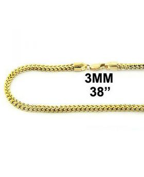 10K MENS 3MM YELLOW GOLD 30 INCH FRANCO/BOX CUBAN CHAIN
