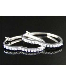 10K Womens Ladies White Gold Rounnd Cut Diamond Heart Hoops Earrings