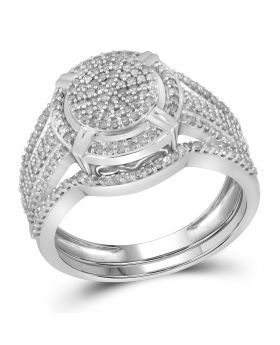 10K White Gold Bridal Set Pave RIng 0.5ct