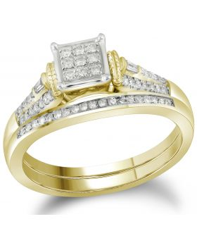 14K Yellow Gold Two Piece Real Diamond Bridal Ring Set 0.20ct
