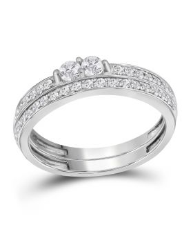 10K White Gold Two Stone Forever Real Diamond Bridal Set 0.50ct