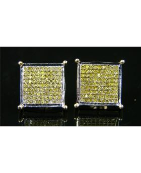 Canary Yellow Diamond Stud Earrings in 14K