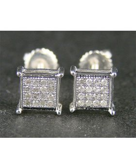 Diamond Stud Earrings In 10K White Gold  (1+ gms)