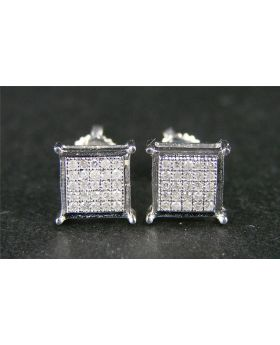 Diamond Stud Earrings 7mm LOOK In 10K White Gold