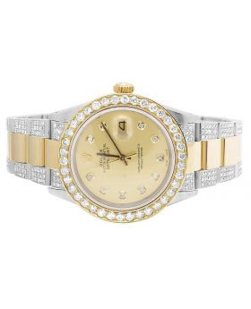 Rolex Datejust 18K/ Steel Two Tone Oyster 36MM Diamond Watch (9.0 Ct)