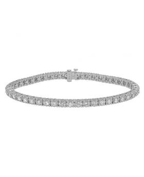 "White Gold Tennis 12 Pointer Illusion Set Diamond Bracelet 8"" 5.4 Ct"