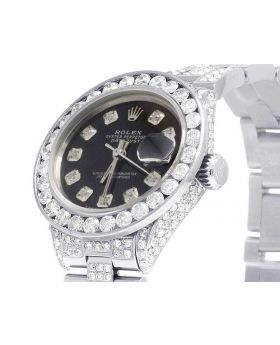 Ladies Rolex Datejust 26MM Black Dial Diamond Watch (10.5 Ct)