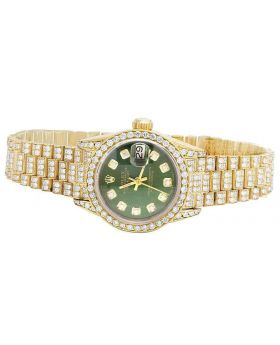 Rolex 18K Yellow Gold 26MM Green Presidential VS Diamond Watch 9.0 Ct