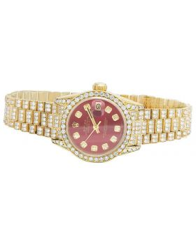 Rolex 18K Yellow Gold 26MM Red Presidential VS Diamond Watch 9.0 Ct