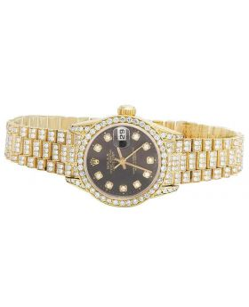 Rolex 18K Yellow Gold 26MM Black Presidential VS Diamond Watch 9.0 Ct