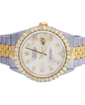 Rolex Datejust 18K/Steel Two Tone 36MM MOP Dial Diamond Watch 3.0 Ct