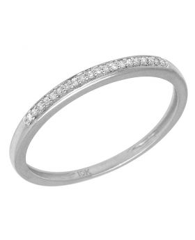Ladies White Gold 1 Row Prong Promise Ring Band 0.05 CT