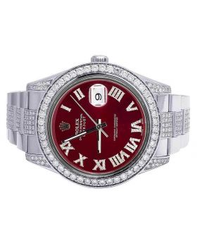 Rolex Datejust II 116300 41MM Red Dial Diamond Watch 10.5 Ct