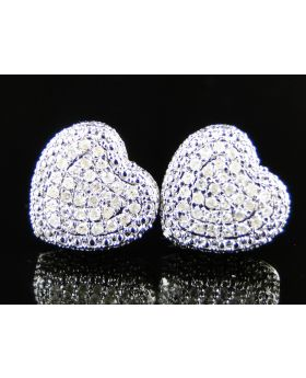 Heart Pave Dome Diamond Earrings In 10K White gold.
