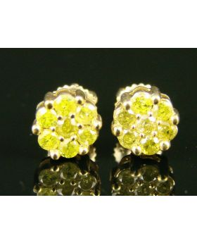 Canary Diamond Pave Stud Earrings In 10K Yellow Gold