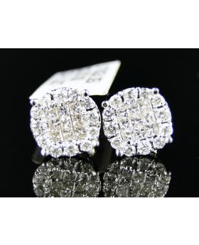 Solitaire Look Diamond Stud Earrings In 14K white Gold