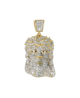 10K Yellow Gold Jesus Head Iced-Out Diamond Pendant 1.0ct 1.2""