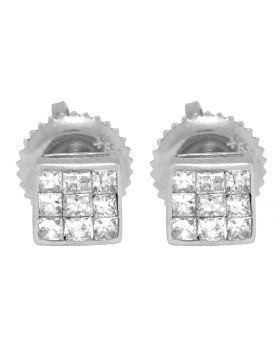 14K White Gold 3 Row Princess Cut Square Stud Earrings 4mm .33ct