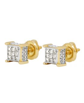 14K Yellow Gold 3D Cube Earrings .75ct