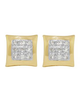 10K Yellow Gold Pave Real Diamond Kite Earrings .15ct