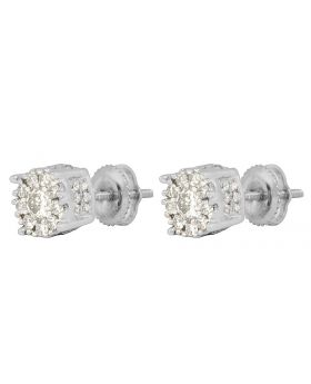 14K White Gold 3D Halo Flower Cluster Round Real Diamond Stud Earrings 1.3ct