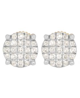 10K Yellow Gold Pave Round Earrings .40ct