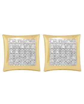 10K Yellow Gold Pave Real Diamond 5 Row Kite Earrings .40 CT