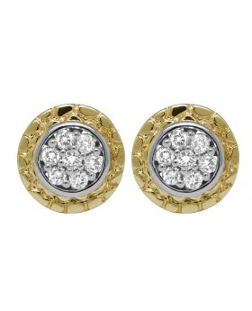 10K Yellow Gold Nugget Flower Real Diamond Earring Studs .60 ct