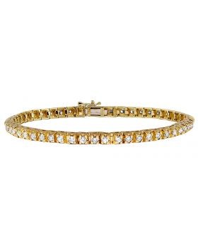 Unisex 14K Yellow Gold 4 Prong Set Tennis Diamond Bracelet 5 ct