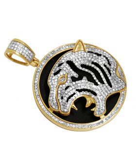 Men's 10K Yellow Gold Real Diamond Tiger Medallion Pendant 1.35ct 1.75""