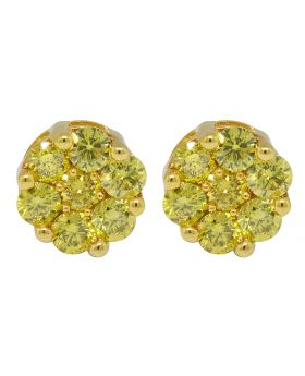 10K Yellow Gold Irradiated Canary Real Diamond Stud Earrings 1.0ct 6.5MM