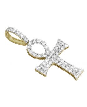 Men's 10K Yellow Gold Two Row Real Diamond Ankh Cross 1.75ct 1.8""