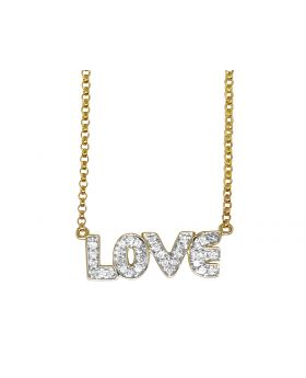 14K Yellow Gold Love Real Diamond Charm Necklace Chain .20 ct