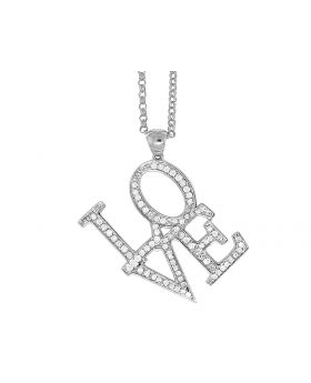 14K White Gold Love Real Diamond Charm Necklace Chain .60 ct