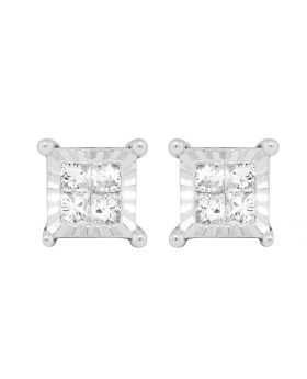 Ladies 10K White Gold Real Diamond Princess Miracle Set Earring Studs 0.66ct