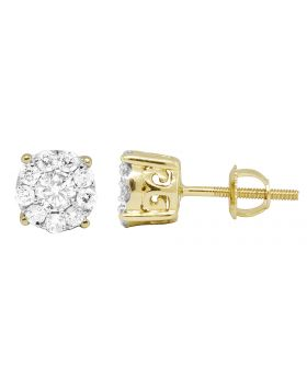 14K Yellow Gold Halo Round Real Diamond Earring Studs 0.60ct