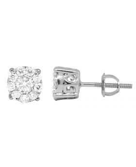 14K White Gold Halo Round Real Diamond Earring Studs 0.60ct