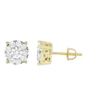 14K Yellow Gold Round Real Diamond Studs Earrings 1.25ct 9mm