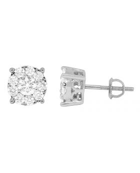 14K White Gold Round Real Diamond Studs Earrings 1.25ct 9mm