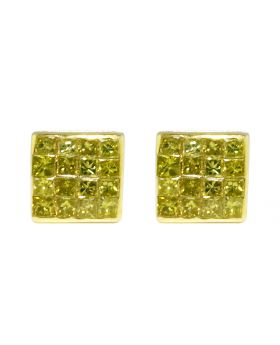 10K Yellow Gold Real Canary Princess Diamond Studs Earrings .50ct