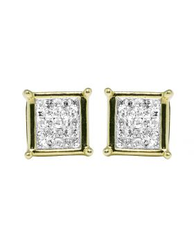 10K Yellow Gold Real Princess Diamond Square Studs Earrings .33ct