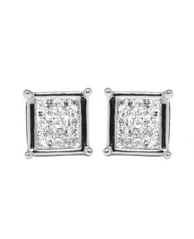 10K White Gold Real Princess Diamond Square Studs Earrings .33ct