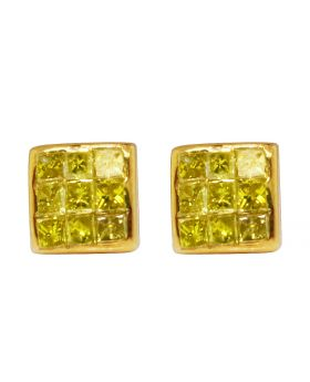 10K Yellow Gold Real Canary Princess Diamond Studs Earrings 0.25ct