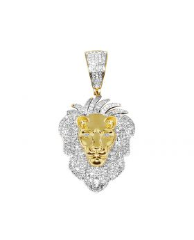 Men's 10K Yellow Gold Lion Real Diamond Pendant Charm 0.75 ct 1.5""