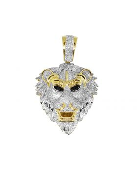 Men's 10K Yellow Gold Real Diamonds Lion Pendant 2.50ct 2.0""