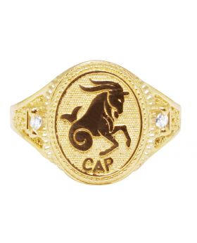 Men's Real 10K Yellow Gold Capricorn Horse Zodiac Ring 14MM