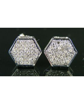 Hexagon Pave Diamond Stud Earrings in 10K White Gold