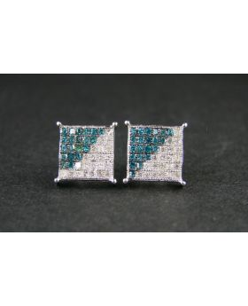 White/Blue Wg Diamond Stud Earrings In 10K White Gold
