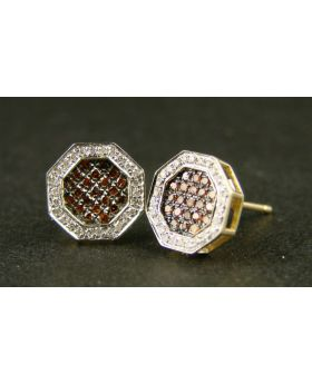 Hexagon Yg Red Diamond Stud Earrings In 10K Gold