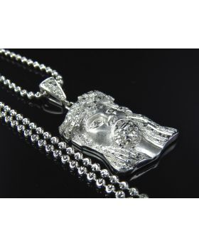 Solid 10K White Gold Diamond Jesus Head with Chain 0.50 Ct